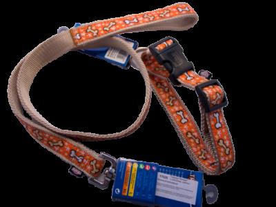 Dog Lead & Collar SET nylon w/clip closure and snap-hook (orange w/bone)
