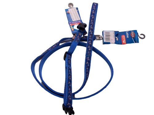 Dog Lead & Collar SET nylon with clip closure and snap-hook (blue w/paw)