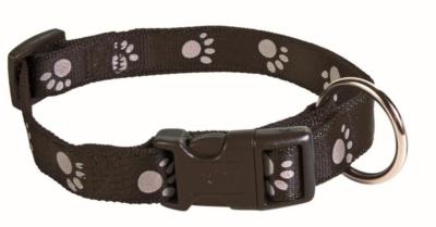 Dog Adjustable Lead & Collar SET nylon w/clip closure and snap-hook S-M (black)